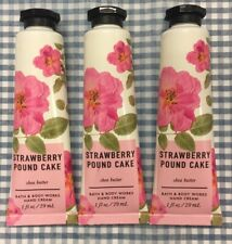 Bath & Body Works STRAWBERRY POUND CAKE 1 oz. Hand Cream Pack Of 3 NEW