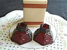 Avon 1876 Cape Cod Ruby Red Glass Candle Holders No Original Box