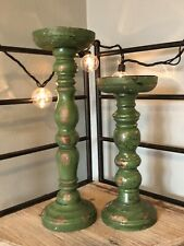 Set Of 2 Rustic Primitive Green Wooden Candle Holders 12� Tall And 10� Tall