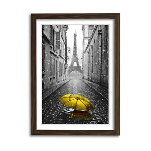 PARIS BLACK AND WHITE YELLOW UMBRELLA ART FRAMED POSTER PICTURE PRINT ARTWORK