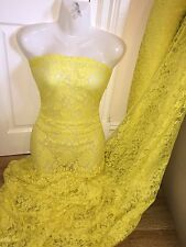 "1 M giallo pallido tessuto Lycra Stretch Lace... 60"" Wide"