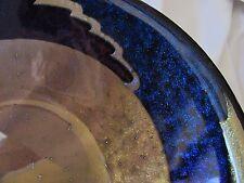 "Signed art glass blue purple bowl 11.25"" M. Michael Leeds 1996 Sample"