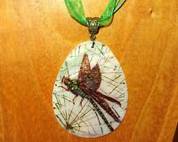 SHELL Pendant by Ivanova GOLDEN DRAGONFLY White Lip Genuine Russian Hand Painted