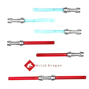LEGO Star Wars - Set of 6 silver hilted red and blue minifigure lightsabers