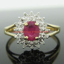 Real Genuine Natural Diamond Ruby Solid 9k Yellow Gold Engagement Wedding Rings
