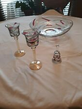 Party Lite Mosaic Calypso Floating Candle Bowl, 2 Candle Holders And Snuffer