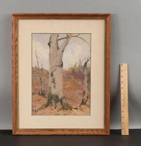 ELIZABETH HUNT BARRETT Wooded Landscape American Impressionist Gouache Painting