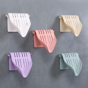 Wall Mounted Plastic Soap Holder Dish Drain Storage Tray Bath Shower Organizer