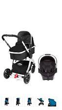 Mothercare Journey 4 Wheel Pushchair Pram Stroller Travel System Black & Chrome