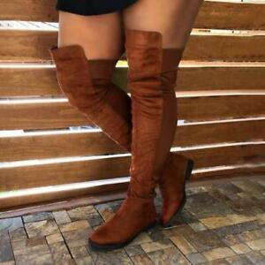 New Women's Low Heel Over The Knee Stretch Leg Thigh High Boots Casual 42 43 D
