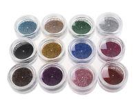 12 Colour Glitter Dust Powder Set for Nail Art UV Gel Tips Decoration Crafts DIY