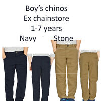 BOYS CHINOS EX M*S 1-7 YEARS 100% COTTON NAVY AND STONE