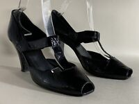 Edina Ronay Black Patent Leather T Bar Peep Toe High Heel Shoe Size UK 7 EU 40