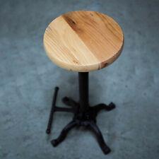 Vintage Industrial Kitchen Bar Stool Black Cast Iron Frame Wooden Seat Home Bar