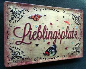 LIEBLINGSPLATZ , BLECHSCHILD mit PRÄGUNG,  20 x 30 cm