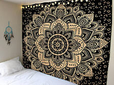 Ombre Indian Mandala Tapestry Wall Hanging Hippie Gypsy Bohemian Black Gold Yoga