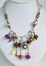 "Necklace Lampwork Tourmaline Rhodochrosite Jade Crystal Agate Sterling Beads 28"""