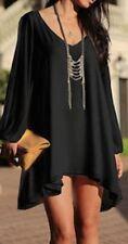Boho Stylish Black Chiffon Layered Loose Dress Bikini Cover Up One Size 8-14