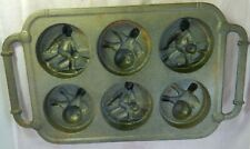 Vintage ROWOCO Cast Iron Muffin Pan Bowling Players Balls & Pins Dual Handles