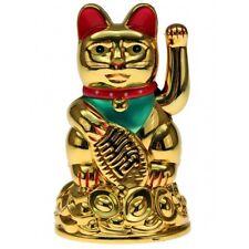 Winkende Katze Winke-Katze Winkekatze Glücksbringer Glückssymbol 11 cm hoch Gold