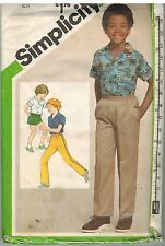 9887 Vintage Simplicity Sewing Pattern Boys Shirt Pull on Pants Shorts 10 Casual