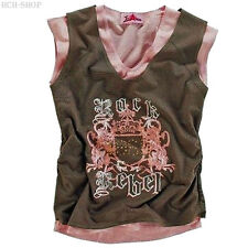Sommer Trägertop Marken-Top Lagen-Look 2 in 1 Shirt Gr. 32 34 36 38/40braun/rosa