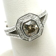 Cognac Brown Diamond Ring Radiant Halo pave 1.41 carat 14k white gold New