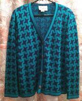 Vintage V Neck Cardigan Sweater Green Houndstooth RETRO PREPPY Castle Brook 18