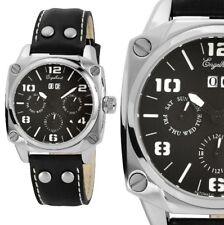Herren Armbanduhr Automatik Schwarz/Silber Lederarmband ENGELHARDT 239.- UVP