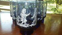 Blue Mary Gregory Tumblers Glasses by LIBBEY GLASS COMPANY Tulip shape 6 12z dog
