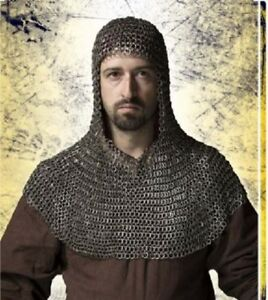 Flat Riveted With Flat Washer Chain mail shirt 9 mm Medieval Coif /Hood