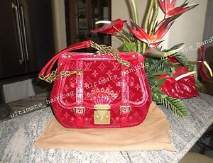 AUTH LOUIS VUITTON LIMITED EDITION GRACIE GM VELO RED EXCELLENT