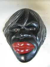ABORIGINAL WALL HEAD PLAQUE VINTAGE RETRO BLACK LADY AUSTRALIAN POTTERY CERAMICS
