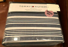 Tommy Hilfiger HORIZONTAL STRIPE Navy Blue & White QUEEN Sheet Set--NWT