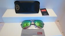Ray Ban Aviator Flash Black Metal Frame Sunglasses RB 3025 Large New Tags