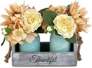 Coffee Table Centerpiece Mason Jar Dining Room Decor Artificial Flowers