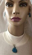 Kingman Turquoise Denetdale Sterling Silver Pendant Earrings Navajo signed 475