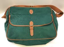 Polo Ralph Lauren Classic Green Tan Messenger Travel Briefcase Bag Tote Vintage