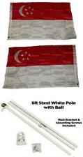 2x3 2'x3' Singapore 2ply Flag White Pole Kit Ball Top