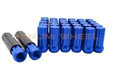 """5 Lug 5x4.5"""" (20pc) Blue Spline Lug Nuts 1/2-20 + 2 Keys Fits Mustang/Wrangler"""