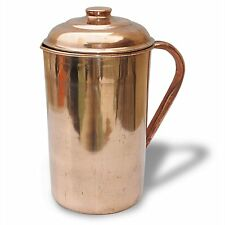 Copper Pitcher Jug With Lid Handmade Drink ware Accessories 34 Oz Set Of 1.