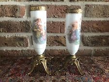 Set of Two Antique Hand Painted Porcelain Vases