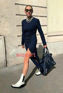 Zara Midi Knit Dress Long Sleeve Gathered Wool Blend Size XS Limited Edition