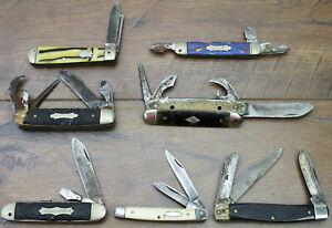 Junk Drawer Lot 7 Antique Vintage Pocket Knives Parts or Repair Scout Kamp-King