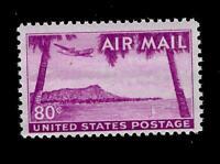 US Air Mail Sc C 46 - 80 ¢ Diamond Head Hawaii Mint NH -Vivid Color - Centered