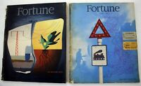 Vintage Lot of 2 Fortune Magazines 1945-1947 Great Cover Art and Ads World War 2