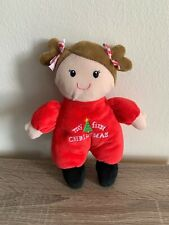 Baby Starters My First Christmas Plush Red Doll Rattle Stuffed Brown Hair Toy