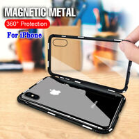 Magnetic Adsorption Metal Case for iPhone X XR XS Max Tempered Glass Back Cover