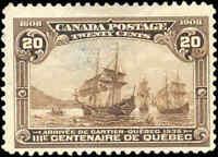 1908 Mint Canada F+ Scott #103 20c Quebec Tercentenary Issue Stamp No Gum