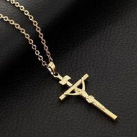 Fashion Necklace 18k Gold Plated Cross Necklace Christian Faith Women Gift
